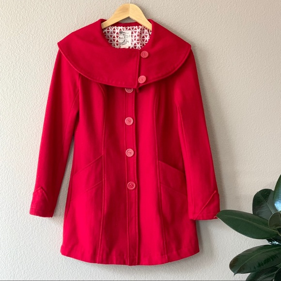 Tulle Jackets & Blazers - Red Pea Coat by Tulle